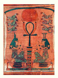 Isis, Nephthys, and Ankh