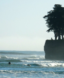 Fishing, surfing at Lighthouse Point, Santa Cruz, CA